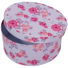 Papír doboz kerek, tetővel virág mintás M9x20cm