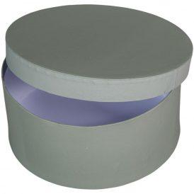 Papír doboz kerek, tetővel szürke M9x20cm