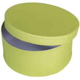 Papír doboz kerek, tetővel világos zöld M9x20cm
