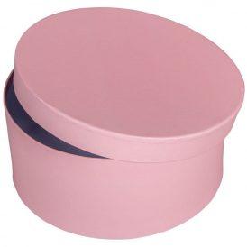 Papír doboz kerek, tetővel világos rózsaszín M9x20cm