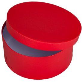 Papír doboz kerek, tetővel piros M9x20cm