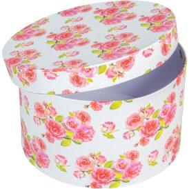 Papír doboz kerek fehér virágmintás D22cm M13cm