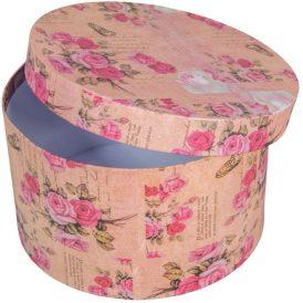 Papír doboz kerek rózsaszín virágmintás D22cm M13cm