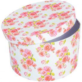 Papír doboz kerek fehér virág mintás D25cm M15cm