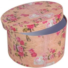Papír doboz kerek rózsaszín virág mintás D25cm M15cm