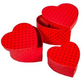 Papirdoboz szív alakú piros 15-13-11cm 3db-os
