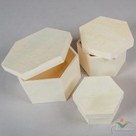 Fa hatszög doboz szett  tetővel 15,12,10cm 3db-os