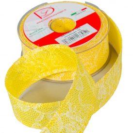 Nyomott csipke mintás szalag sárga 40mm x 20m