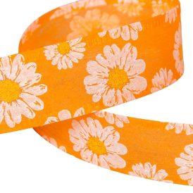 Margaréta mintás decofibra szalag narancs 40mm x20 m