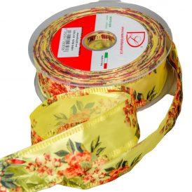 Rózsa mintás szatén szalag sárga 40mm x 25m