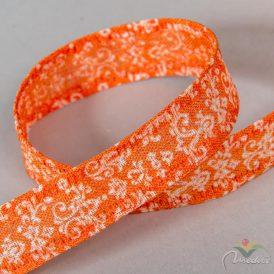 Damasco mintás pamut szalag narancs 25mm x 20m