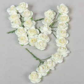 Papír rózsa krém 1,6cm 25db-os