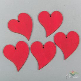 Fa piros francia szív 4,5cm 5 db-os