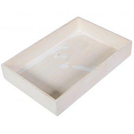 Fa tálca peremes fehér  M5x30x20