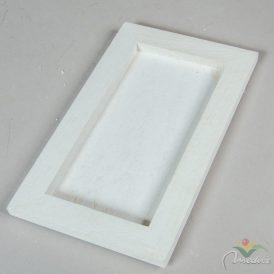 Fa keretes tálca fehér 25x15cm