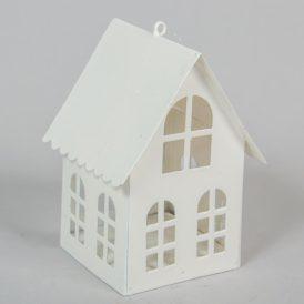 Fém mécsestartó házikó fehér M11cm