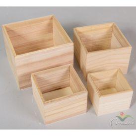 Natúr négyzetes doboz 16,13,11,9cm  4db-os