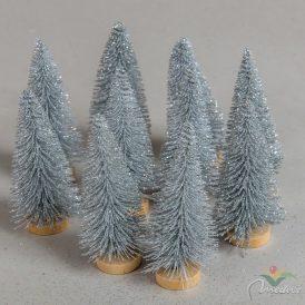 Fenyőfa ezüst glitteres 8cm 10db-os