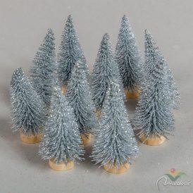 Fenyőfa ezüst glitteres 6cm 10db-os
