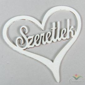 """Fehér """"Szeretlek"""" felirat  szívben 10cm"""