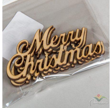 Natúr fa Merry Christmas 9,5cm 3db-os
