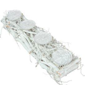 Rőzse 4-es gyertyatartó fehér 46cm