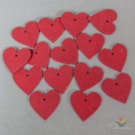 Fa szív piros fűzhető 4cm 15db-os