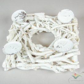 Rőzse adventi alap 4-es gyertyatartóval fehér 32x32cm
