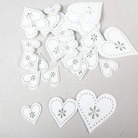 Fa virágdíszes szív 3-5-7cm fehér 30db-os