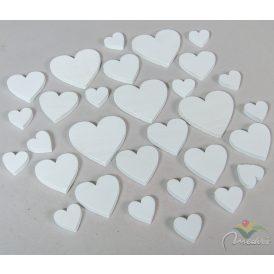 Fa szív fehér 3-5-7cm 30db-os
