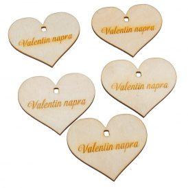 Natúr fa szív Valentin napra felirattal 7cm 5db-os