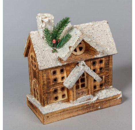 Fa házikó barna fehér tetővel világítós M25cm