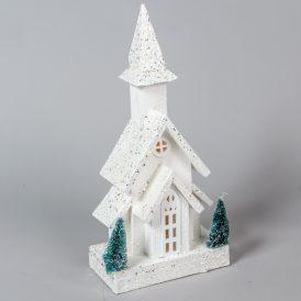 Fa ház viágítós glitteres fehér M40cm