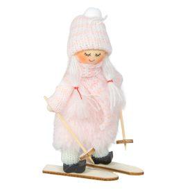Síelős gyerek rózsaszín 12cm