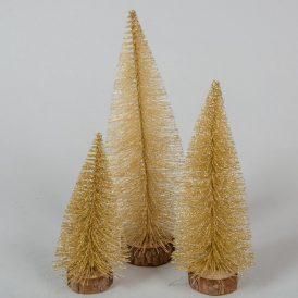Arany csillámos fenyő 15-20-25cm 3db-os