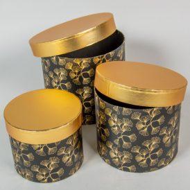 Aranyfedeles,virágmintás doboz fekete D22,19,16cm 3db-os