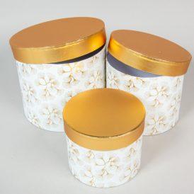 Aranyfedeles,virágmintás doboz fehér D22,19,16cm 3db-os