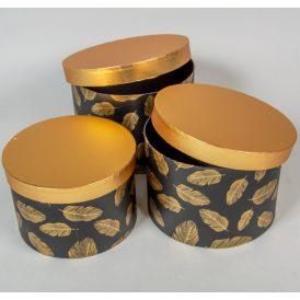 Aranyfedeles doboz madártoll mintás,fekete D24,22,20cm 3db-os