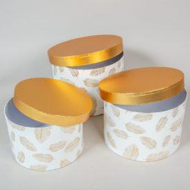Aranyfedeles doboz madártoll mintás,fehér D24,22,20cm 3db-os