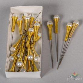 Dekor tű gyönggyel 8cm krém-arany 30db-os
