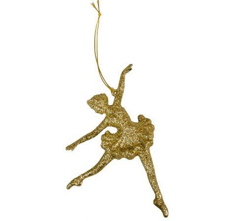 Műanyag bellerina akaszós arany 14cm