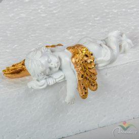 Angyal alvó fehér-arany poly  11cm