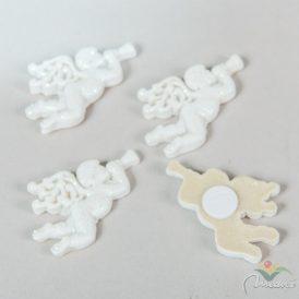 Angyal trombitával poly glitteres fehér 4cm 4db-os