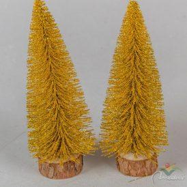 Fenyőfa glitteres arany 15cm 2db-os