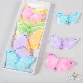Glitteres, szőrös csipeszes lepke 12db/csom (db ár) Egész csomagra rendelhető!