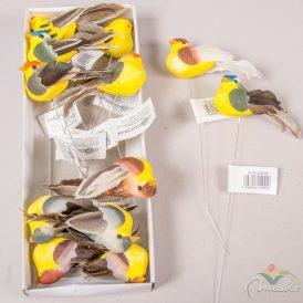 Sárga hasú madár dróton  9cm 12db/csom (db ár) Egész csomagra rendelhető!