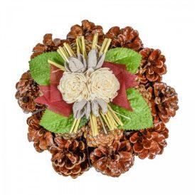 Rózsatoboz koszorú hazai szárazvirág díszítéssel 15cm