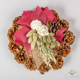 Rózsatoboz koszorú hazai szárazvirág díszítéssel 20cm