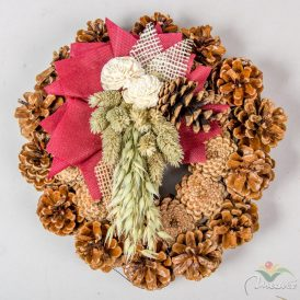 Rózsatoboz koszorú hazai szárazvirág díszítéssel 25cm