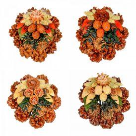Rózsatoboz koszorú trópusi szárazvirág díszítéssel 15cm